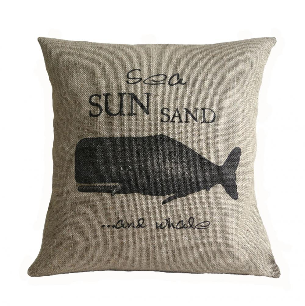 Sea Sun Sand and Whale Pillow Cover