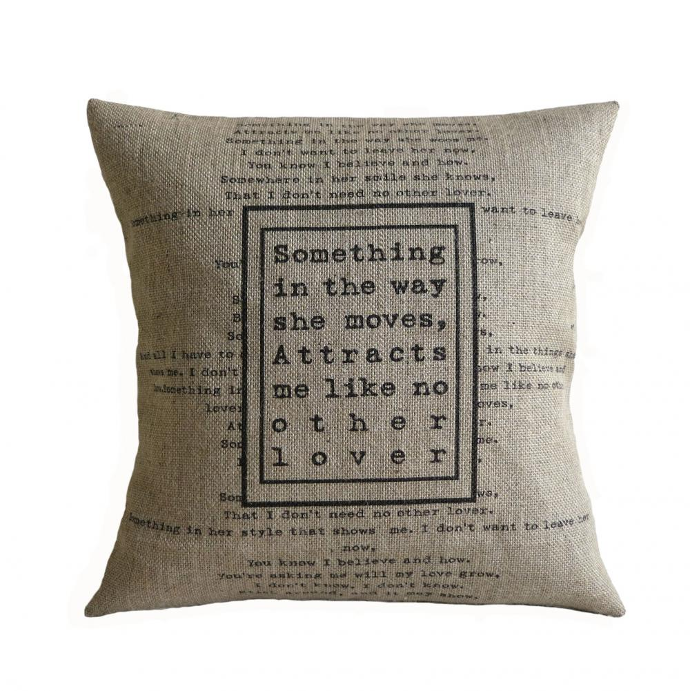 The Beatles Song Love Quote Something Burlap Pillow Cover