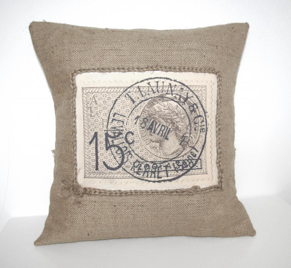 French Stamp Vintage Rustic Design Burlap Canvas Pillow Cover