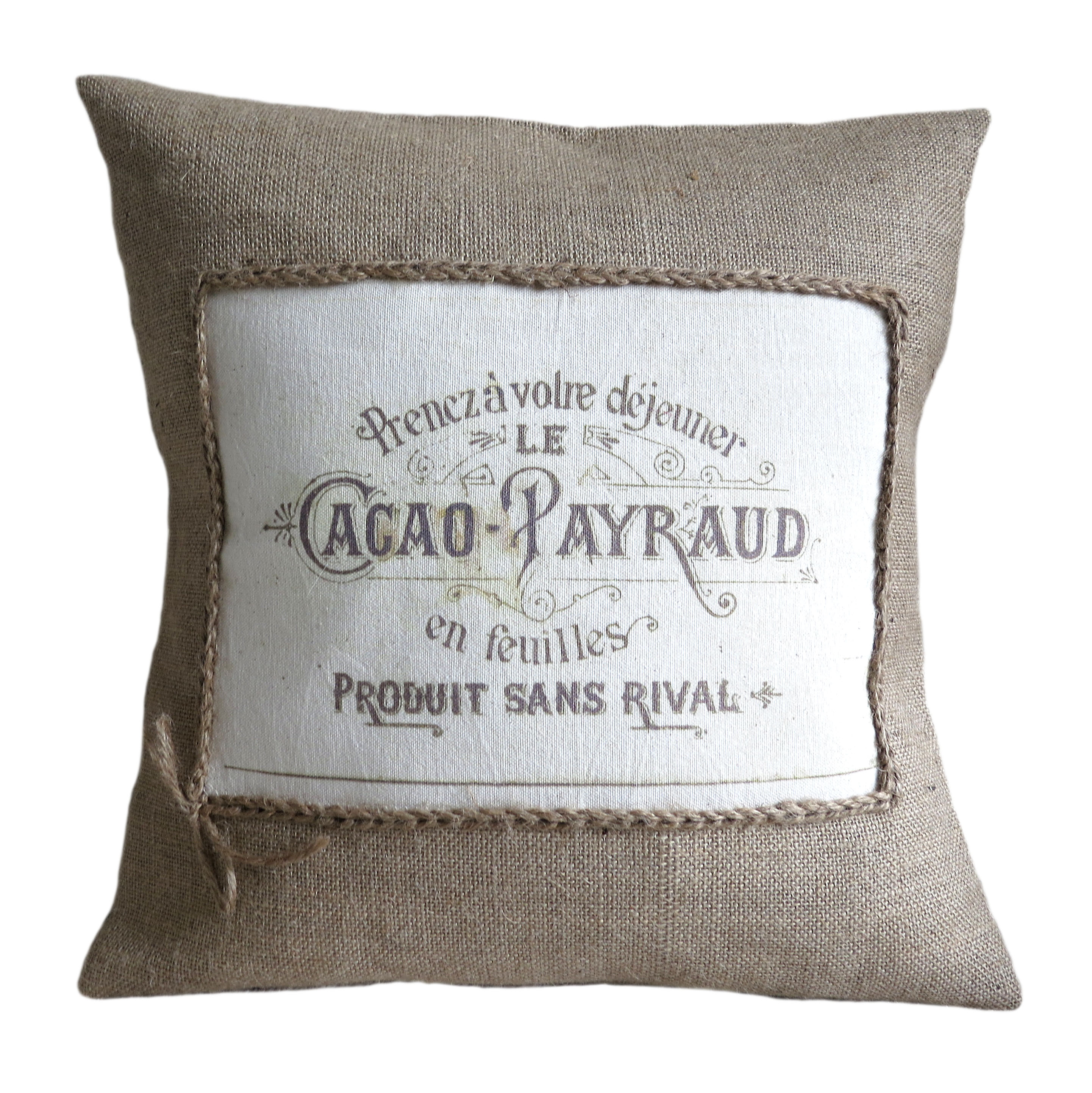 vintage french cacao advert burlap pillow cover